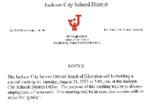 Special Board Meeting - August 31, 2021