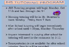 JHS Tutoring Program Details
