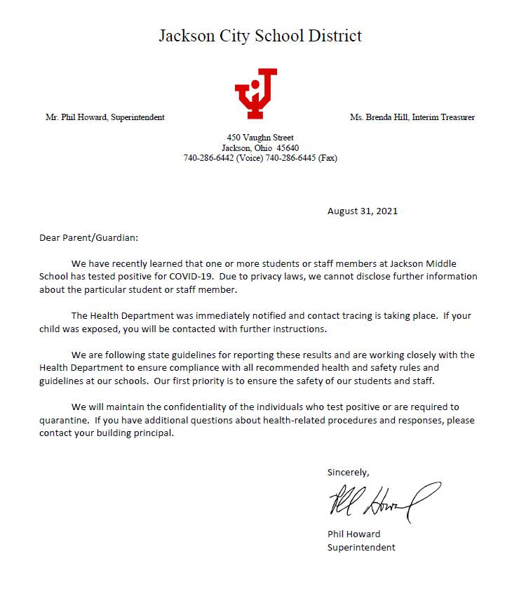 JMS Positive Case Notice